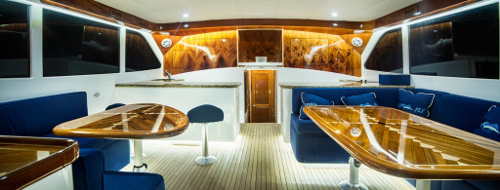 interior of fishing charter in Los Suenos, Costa Rica