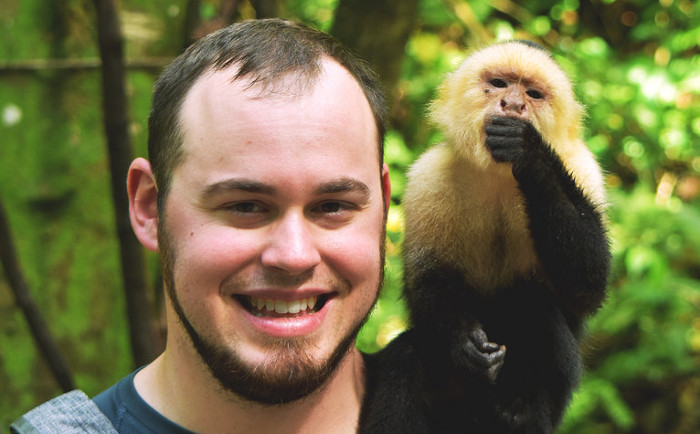 Man with a Capuchin Monkey
