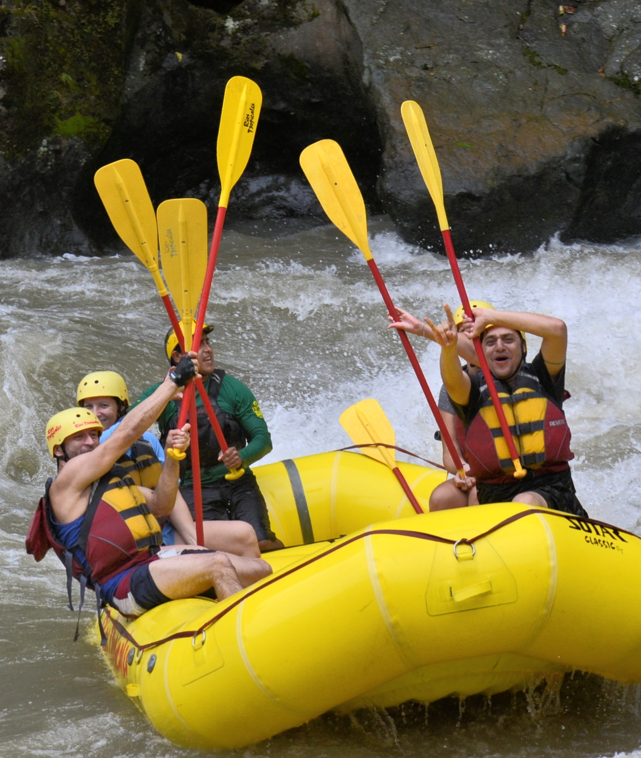 group on a rafting trip in Costa Rica