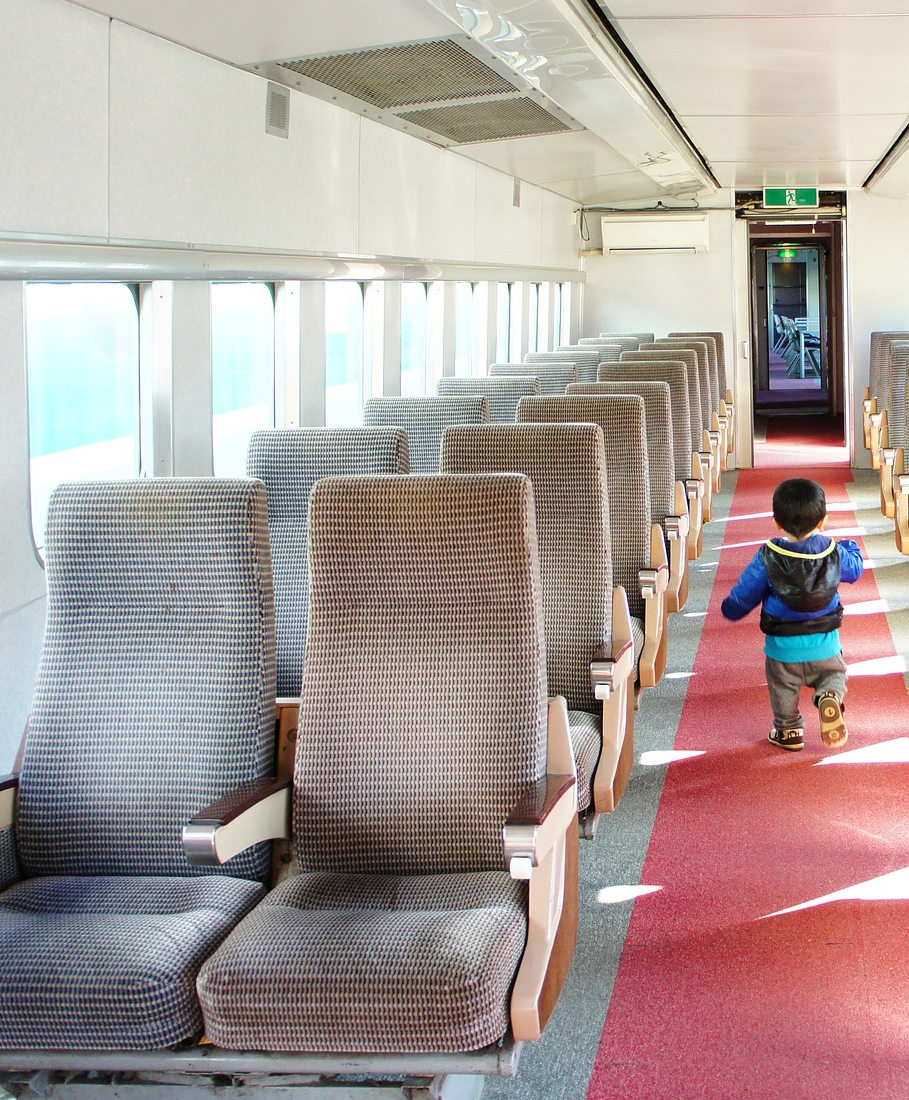 A view of the interior of an electric train