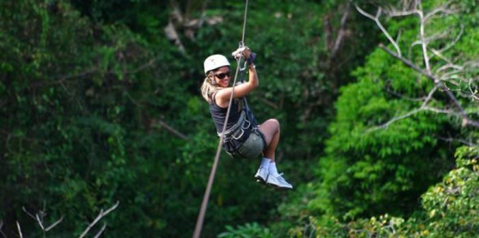 Woman on a zipline