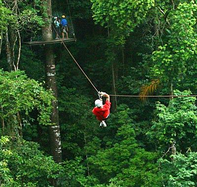 man on a zipline on a canopy tour in Costa Rica